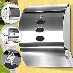Wandbriefkasten mit Durchblick - aus gebürstetem Edelstahl, Abschließbar mit 2 Schlüsseln, Silber, 30x40x12 cm - Briefkasten, Postkasten, Mailbox, Letterbox