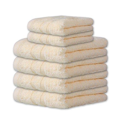 Handtuch-Set 6-teilig 10 Farben, viele Größen 100{91be2a33b2f8258db00e1678207d034297af896f304594ff37b7ce18edf3334a} reine Baumwolle Frottee ca. 600g/qm Set Inhalt 4x Handtuch je 50 x 100 cm + 2x Duschtuch je 70 x 140 cm CelinaTex Capri 0002028 creme-weiß