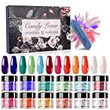 Dipping Powder Nail Starter Kit - 12 Pastel Fall Winter Colors Candy Lover Dip Powder System Acrylic for French Nail Art Essential set, No Curing Needed Portable Kit for Travel 025