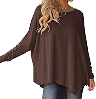 Howely Women's Casual Crewneck Tops Irregular Hem Pullover Fall Winter Shirts