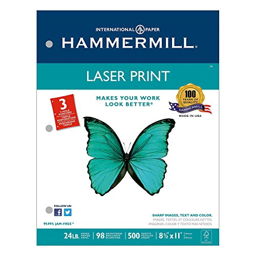 """Hammermill Laser Print Paper - Letter - 8.5"""" x 11"""" - 24lb - 3 x Hole Punched - Ultra Smooth - 98 GE/112 ISO Brightness - 500 / Ream - White"""