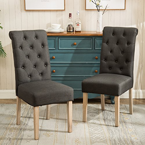 Roundhill Furniture Habit Solid Wood Tufted Parsons Charcoal Dining Chair, Set of 2