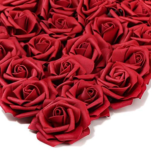 PartyWoo Künstliche Rosen, 25 Stück Kunstblumen, Künstliche Blumen, Deko Blumen, Schaumrosen, Kunstblumen Deko, Kunstblume für Geburtstagsdeko, Hochzeitsdeko, Party Deko (Weinrot, Ohne Stängel)