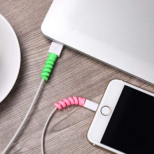 LAPSTER Spiral Charger Spiral Charger Cable Protectors for Wires Data Cable Saver Charging Cord Protective Cable Cover Set of 2 (8 Pieces)