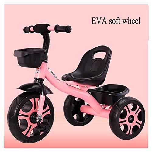 GIFT Baby Carriage Kids Tricycle avec des Cloches Et De La Musique, EVA Roue Molle, Siège Peut être Ajusté, Cadeau De Noël Nouvel an 2-6ans,E