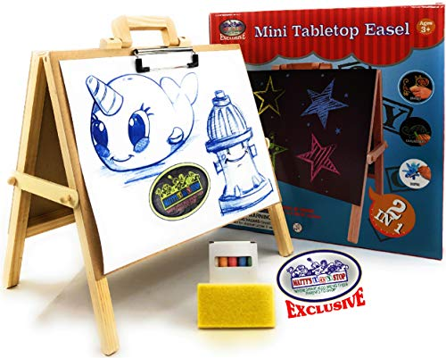 Matty#039s Toy Stop 2in1 Mini Wooden Tabletop Easel with Blackboard Paper Clip amp Accessories