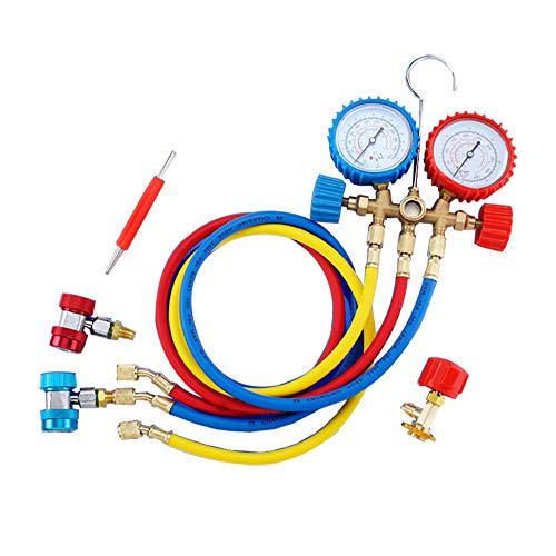 Ensemble de jauge, ensemble de jauge de fréon de diagnostic collecteur de diagnostic Pro A/C avec coupleurs et adaptateur ACME, trousse à outils de diagnostic pour la réfrigération R22 R134a