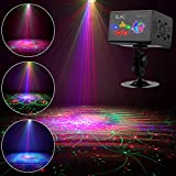 Laser Projector SUNY Sound Activated Christmas DJ Laser Lights Machine Party Light RGB Multiple Gobos Projector Full Color Galaxy LED Ripple Wave Projection Lighting For Xmas Disco Holiday Event Show