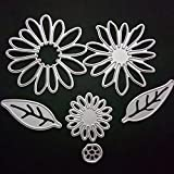 Metal Flower Leaves Shaped Die Cuts Cutting Dies Stamps Embossing Stencil for Card Scrapbooking and DIY Craft 6 PCS