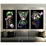 Mario Bros Luigis Cartoon Photos Peintures Murales Chambre Décor Luigis Mansion 3 Jeux Vidéo Art Décoration Murale Peinture -50x70 cm Sans Cadre