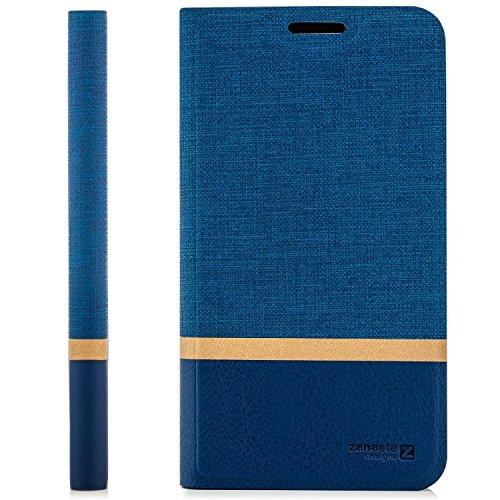zanasta Tasche kompatibel mit HTC 10 EVO Hülle Flip Hülle Schutzhülle Handytasche mit Kartenfach Blau