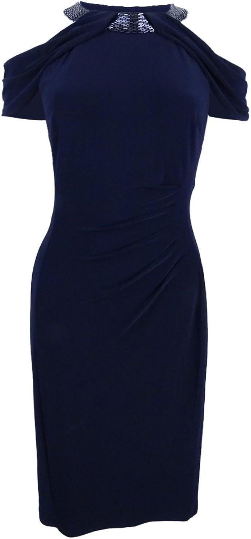 Lauren Ralph Lauren Womens Beaded Ruched Party Dress
