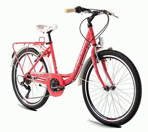 breluxx® 24 Zoll Damenfahrrad Mädchenrad Schulfahrrad Citybike Ella pink - 6 Gang Shimano + Gepäckträger + Beleuchtung nach StVo - Modell 2020