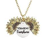 Collier avec médaillon de tournesol avec pendentif gravé « You are My Sunshine » pour femme et fille avec joli coffret cadeau
