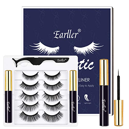 EARLLER 5 Pairs Magnetic Eyelashes and Eyeliner Kit, Natural Look False Lashes with Applicator, Easy to Apply and No Glue Needed, Reusable 3D Short and Long Eyelashes Set