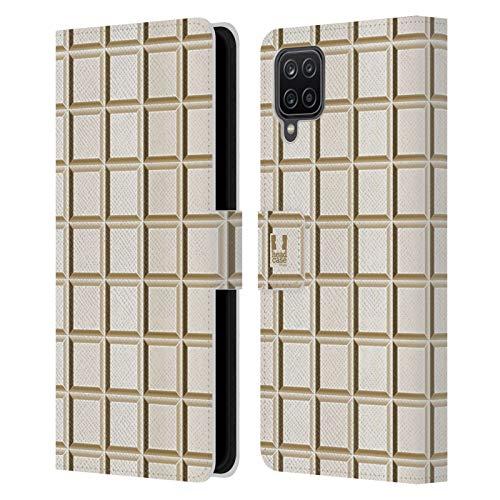 Head Case Designs Tableta Blanca Achocolatado Carcasa de Cuero Tipo Libro Compatible con Samsung Galaxy A12 (2020)