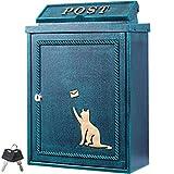 カバポスト ポスト 郵便ポスト 猫 と手紙 鋳造 壁掛け 鍵付き A4対応 郵便受け おしゃれ