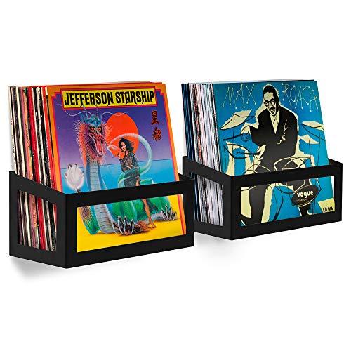 Hudson Hi-Fi Wall Mount Vinyl Record Storage 25-Album Display Holder - Black Satin - Two Pack