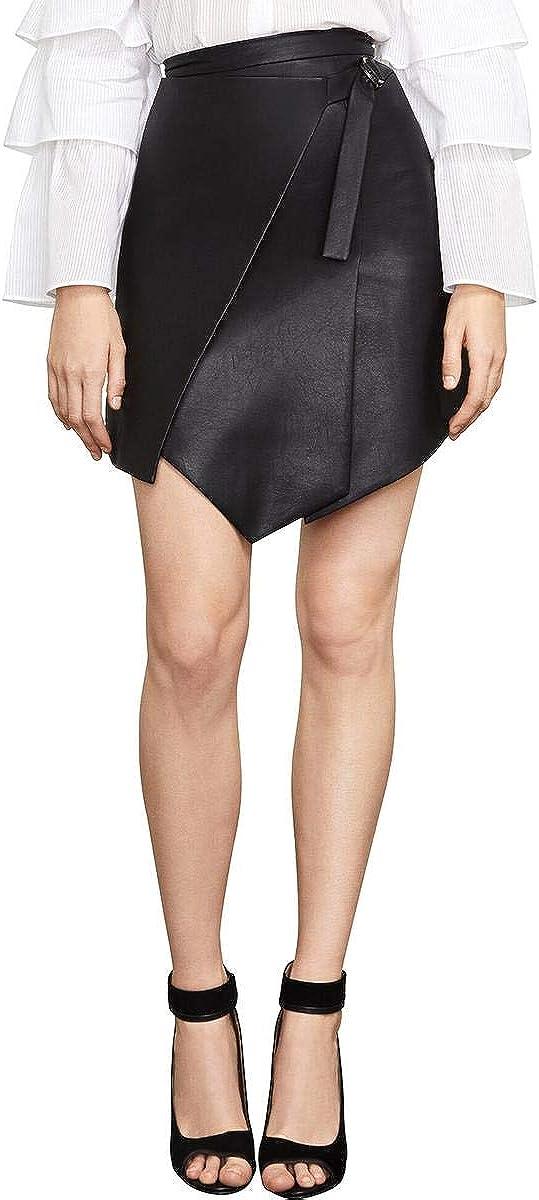 BCBGMAXAZRIA Women's Yulissa Faux-Leather Wrap Skirt
