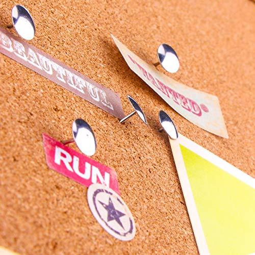 Yalis Thumb Tacks 500-count, 3/8-inch Steel Roundness Push Pins Office Tacks for Corkboard (Silver) Photo #4