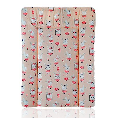 Wickelauflage Baby 50x70 cm NEU Design 100% Baumwolle Öko-Tex Standard 100 (Rosa Kaninchen auf einer Schaukel)
