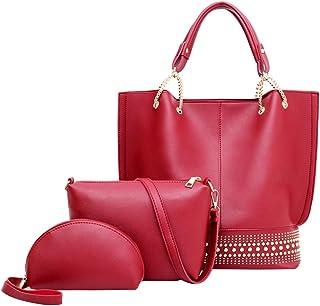 FENICAL Handbag Women Tote Purse Rivet Shoulder Bag Work Tote Wristlet Bag for Women Ladies 3PCS/SET (Claret)