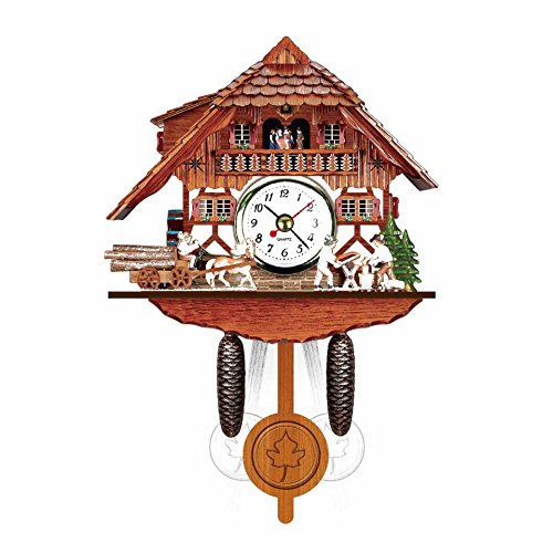 Watkings antieke houten koekklok, Bird Time Bell Swing wekker Home Art Decor