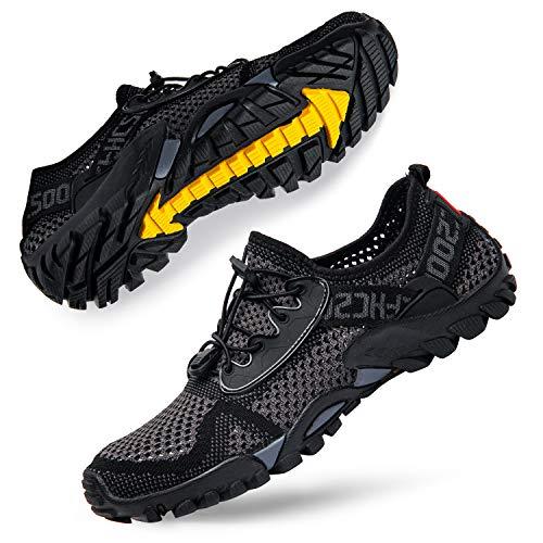 SOBASO Water Shoes for Women Quick Drying Men Aqua Shoes Barefoot Beach Shoes for Swim River Lake Surf Grey Black