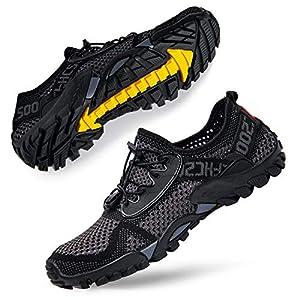 Women's Aqua Water Shoes Men Quick-Drying Water Hiking Beach Sports Shoes for Pool Surf Swim Yoga Grey Black