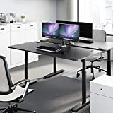 Eureka Ergonomic Computer Desk 60 inch, Adjustable Height Desk for Home Office Large Writing PC Desk Modern Simple Table with Free Mouse Pad, Mechanical Adjustment Black