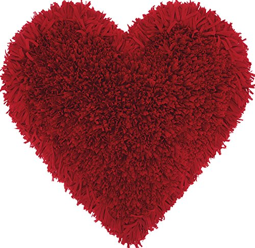 Nourison Mina Victory TL001 Frame Heart Shag Throw Pillow, 18' x 18', Deep/Red