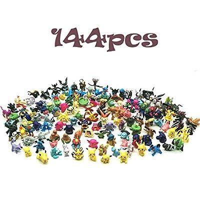 JIM - 144 pcs pokémon Figuras,Figura de Pokemon Adecuado para Fiestas, Regalos, fanáticos de Pokémon por JIM