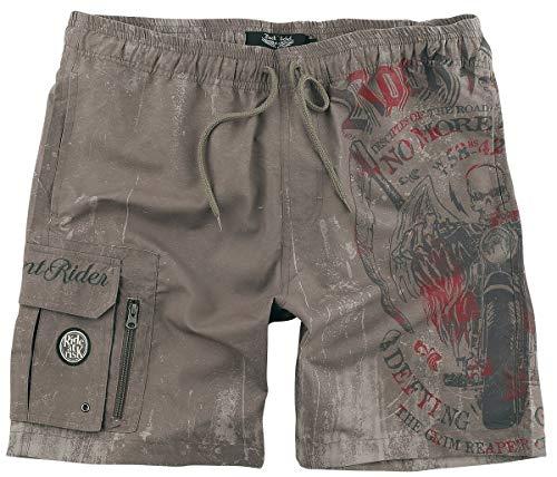 Rock Rebel by EMP Sandfarbene Badeshorts mit Prints und Taschen Männer Badeshort Sand XL