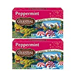 Celestial Seasonings Herb Tea Peppermint 20 Bag (Pack of 2) W/ F.O.Y Brand Honey Sticks Sample