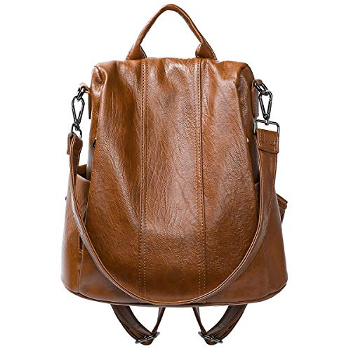 Women Backpack Fashion PU Leather Backpack Purse Anti-theft Backpack Ladies Shoulder Bags (Brown)