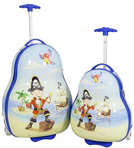 Hartschalen Kinder Koffer-Set 2-teilig Piraten-Motiv Trolley für Jungen 2 LED-Rollen