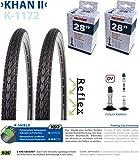 P4B | Komplettes 28 Zoll Fahrrad Reifen Set = 2X 37-622 (28' x 1 3/8 x 1 5/8) Fahrradreifen mit Pannenschutz + Reflexstreifen | 2X Schläuche 28 Zoll | DV 40 mm | FORMGEHEIZT