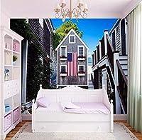 Bosakp カスタム3D壁紙ヨーロッパの別荘の設計建物の壁紙本屋寝室の装飾的な背景カスタム壁画 200X140Cm