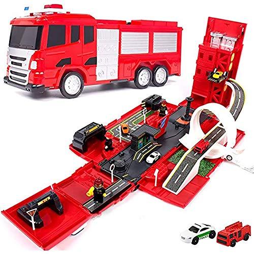 WXX Pista para Niños Juguete Educativo Deformación del Automóvil Modelo De Elevación De Camiones De Bomberos De Vehículos De Ingeniería Grandes Ensamblar Bloques De Construcción,Fire Trucks