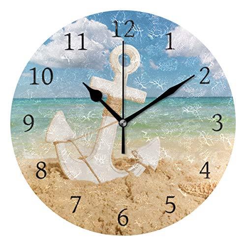 Ahomy Runde Wanduhr Anker Seestern Strand Meer Sonne Weiß Wolke und Blau Himmel Home Art Decor Non-Ticking Ziffern Uhr für Home Office 1 x AA Batterie (nicht im Lieferumfang enthalten)
