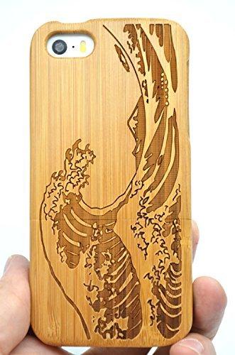 RoseFlower® Holz Schutzhülle für iPhone SE/iPhone 5S / iPhone 5 (10,2 cm (4 Zoll) - Bambus Seawave - Natürliche Handgemachte Holzhülle Hülle Handytasche Handy Case Cover