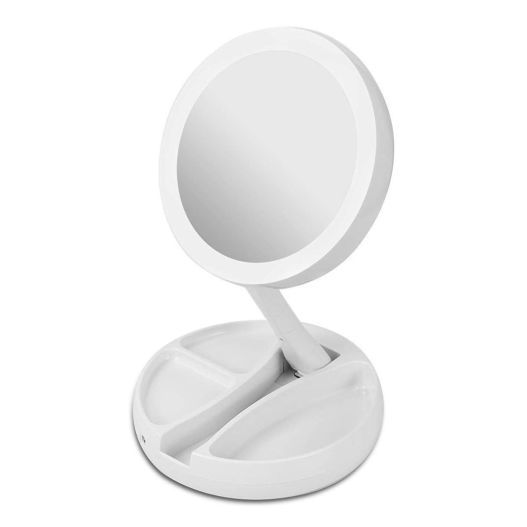 びんスピン大臣化粧鏡 卓上 拡大鏡 等倍と10倍拡大鏡 led ライト付き 折りたたみ式 化粧用鏡 両面鏡 360°回転 高さ調整可 USB/電池給電 収納便利 化粧ミラー 卓上鏡