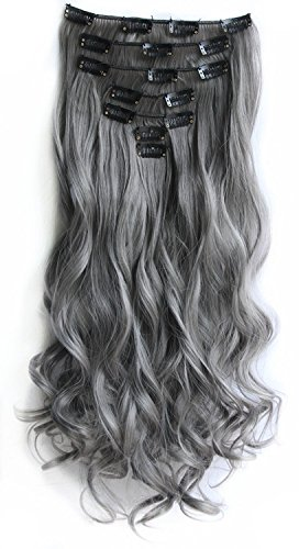 SWACC Women 20 Inches Curly Full Head 7 Separate Pieces Heat Resistance Synthetic Hair Clip in Hair Extensions (Grey)