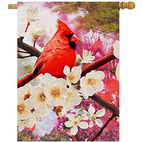 Artofy Red Cardinal Flower 28 x 40 House Flag Dogwood Double Sided, Floral Welcome Bird Burlap Outside Garden Yard Decoration, Spring Summer Seasonal Outdoor Dcor Decorative Large Flag Memorial Gift