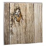 DmiGo Cortina de baño,Safari Siberian Wild Tiger Eye Fabric Set de decoración de baño con Ganchos 180cmx180cm