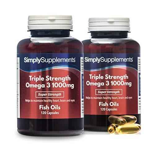 Omega 3 1000mg Triple acción - ¡Bote para 8 meses! - Extra fuerte - 240 cápsulas - Con un alto contenido de DHA y EPA - SimplySupplements