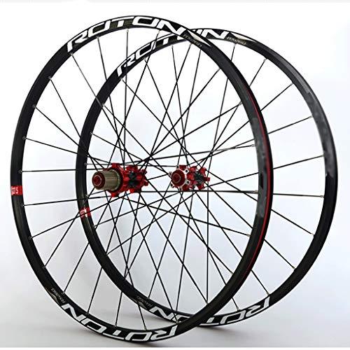 """LHHL Set Ruote Bici 26""""/27.5""""/29"""" MTB Cerchi Doppia Parete Mozzo Cassetta Carbonio Cuscinetto Sigillato Ruota della Bici Freno Disco QR 11 velocità 24H (Color : Black, Size : 26"""")"""