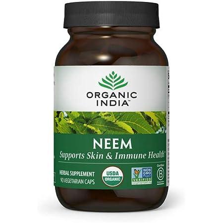 Organic India Neem Herbal Supplement - Supports Skin, Immune, & Liver Health, Detox, Healthy Inflammatory Response, Vegan, Gluten-Free, USDA Certified Organic - 90 Capsules