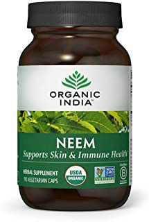 Organic India Neem Herbal Supplement - Supports Skin & Immune Health, Detox, Healthy Inflammatory Response, Vegan, Gluten-...