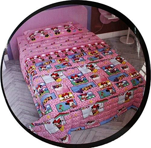 il dolce stile della tua casa trapuntino/copriletto Disney Minnie, Letto Singolo Adatto Autunno e Primavera 90 gr.